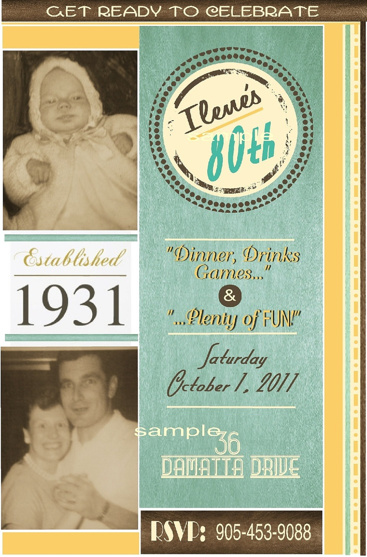 12 best 80th Bday Ideas images on Pinterest Birthday party ideas