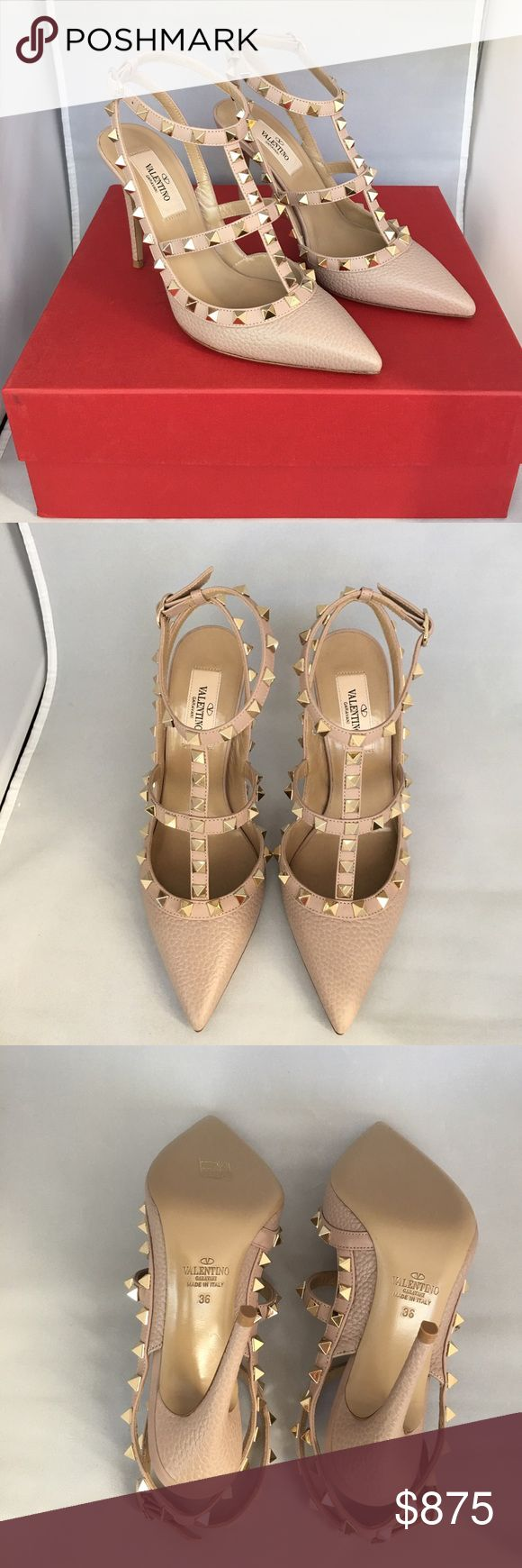 Valentino Rockstud Heels, Sz 6/36, Taupe/Nude 100% authentic and brand new with box. Valentino's 'Rockstud' pumps are equal parts elegant and edgy. Coated in nude grained leather, this studded pair work for days and evenings alike. Wear with distressed denim to dress up an off-duty look. Valentino Shoes Heels