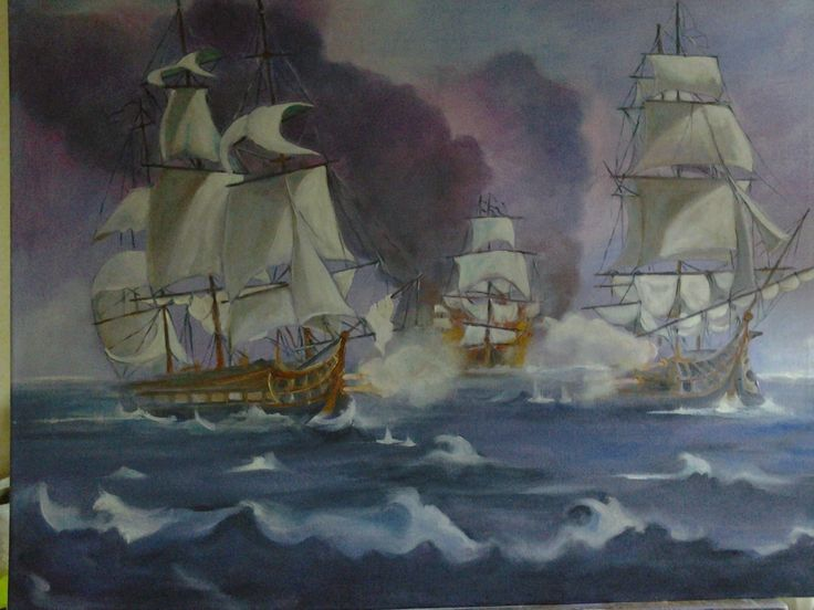 Epic sea battle French vs English 1812