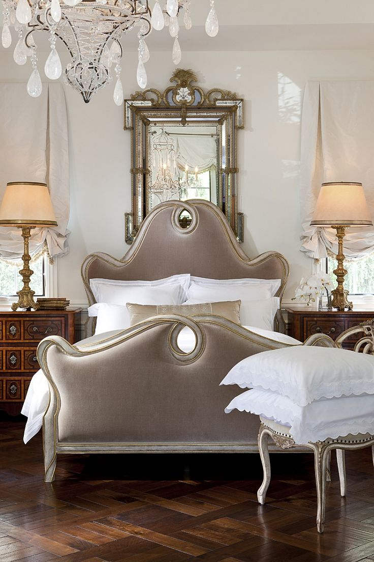 Ebanista Beau Ruban Bed from Collection Ten with a beautiful hand-carved ribbon frame in weathered dove finish with antiqued 22k gold detailing.