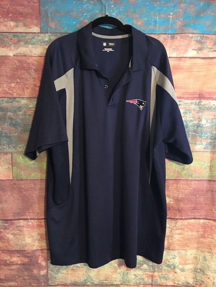 NFL POLO SHIRT Patriots 2XL Team Apparel Polo Shirt  Blue Grey  | eBay