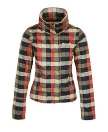Zip up jacket with concealed hood at the rear of the collar. Embroidered Bench logos.  $124.95