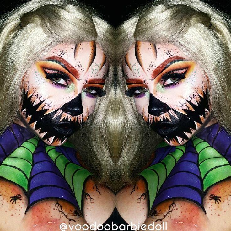 Halloween Queen   IG @voodoobarbiedoll YOUTUBE www.youtube.com/SydneyNicoleTheCatsMeow   Halloween makeup, Halloween Inspiration, Halloween Makeup Ideas, Pumpkin Makeup, Pumpkins, Spiderweb, Spiderweb Makeup, Creepy Makeup, Horror Makeup, Scary Mouth Makeup, Cut Crease, Glam Makeup, Orange Eyebrows, SFX, SFX Makeup, Special Effects Makeup, Bodypaint, Makeup, Cat Eye