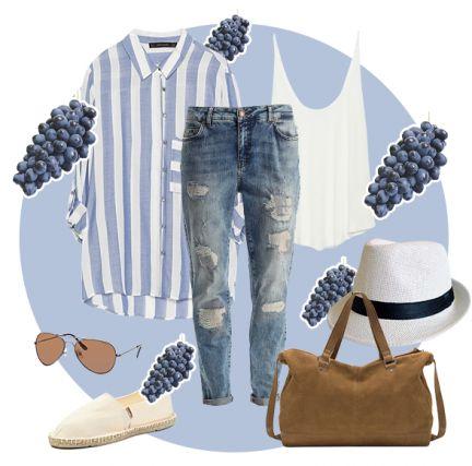 """""""Рваные"""" джинсы boyfriend, белая майка, свободная рубашка в полоску, замшевая сумка в мужском стиле, белые эспадрильи и летняя шляпа составят весенне-летний образ в стиле casual."""