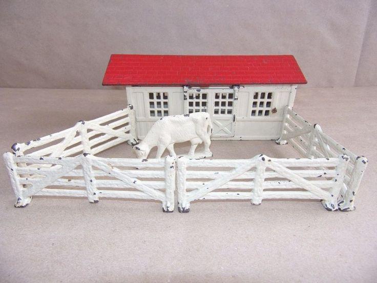 Vintage Cast Iron Toy Farm Play Set Barn Fence Cow All