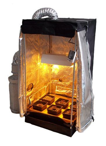 """The Hydro Grow Room Tent with Emily's Garden complete system is top of the line! We have filled the light blocking & reflective tent and customized it for the best in indoor gardening! Comes ready to grow with 2' x 2' x 4' tent, multi-pin timer, Yo-Yo light hanger, Emily's Garden hydroponic system, 4"""" Carbon"""