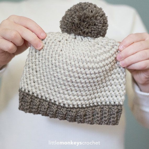 Herringbone Stitch Knit Hat Pattern : Crochet Pattern - Herringbone Baby Hat (Baby Newborn Pom Pom Crochet Hat Patt...