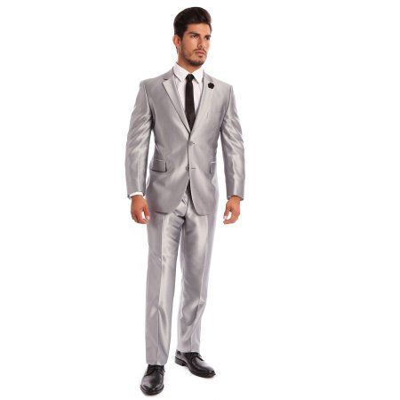 Verno Cavallo Big Men's Silver Shark-skin Classic Fit Italian Styled Two Piece Suit, Size: 52 L