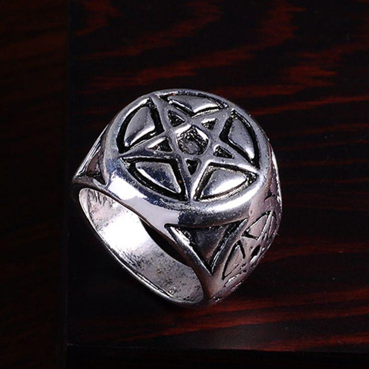 2016 Punk Vintage Trend Man's Ring Gothic Men's Cool Pentagram Biker Zinc alloy Ring Man fashion rings Free shipping sa1072