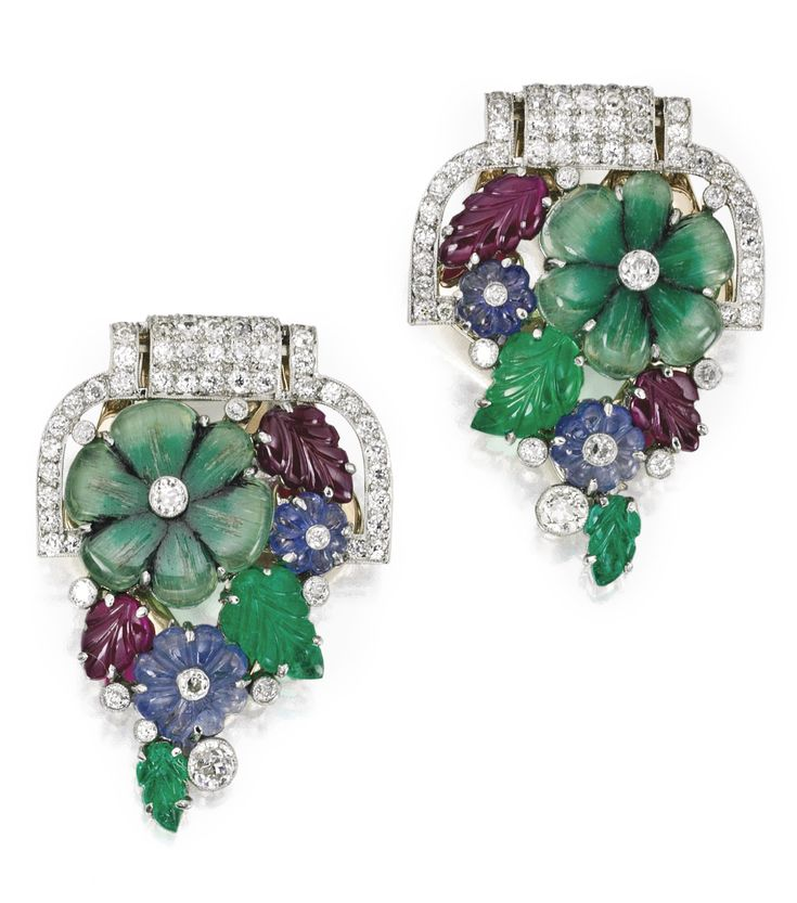 Estate JewelryBrooches Pins MultiStone Diamond Platinum Clip