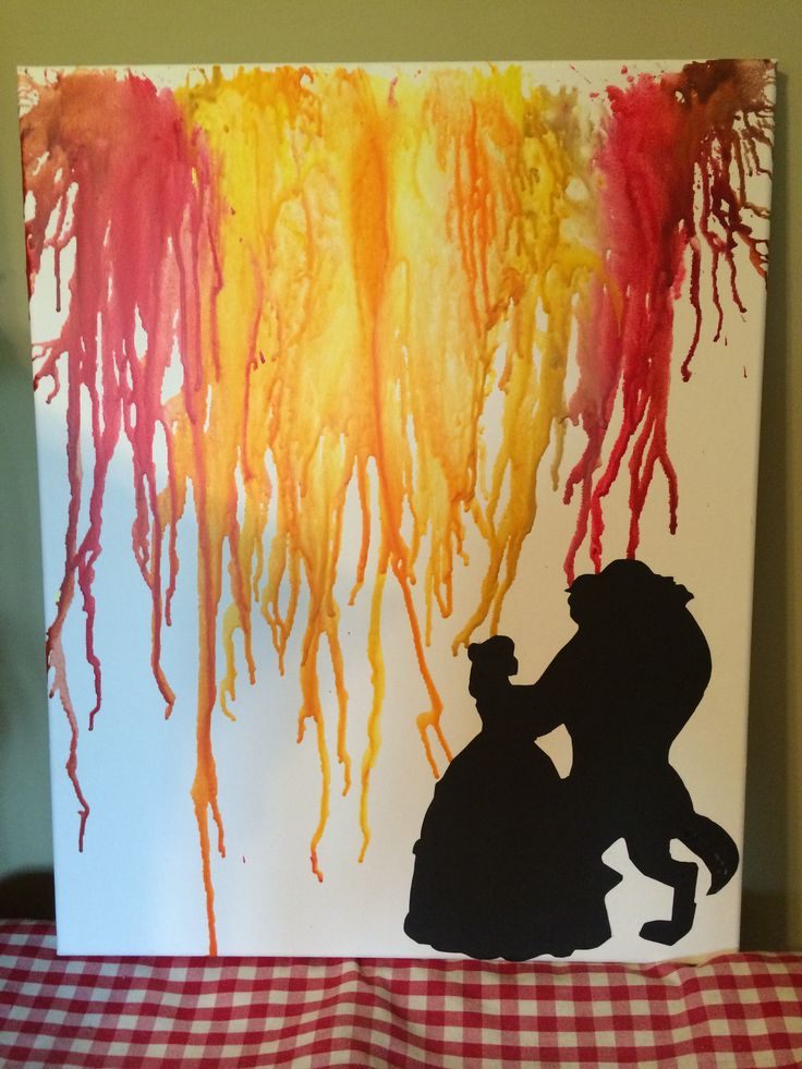 Beauty and the beast melted crayon art :)