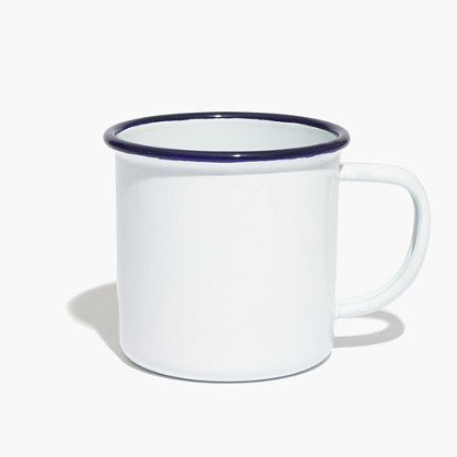 "British mainstay Falcon Enamelware began making beautiful, nearly indestructible cookware in 1920. This enamel mug has serious nostalgia factor (you might recall drinking hot chocolate from something similar during childhood camping trips). <ul><li>Enamel.</li><li>3 3/4""H.</li><li>Holds 350ml.</li><li>Import.</li><li>White, grey, red.</li></ul>"