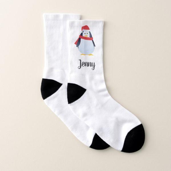 Personalized cute Christmas Penguin Socks #christmas #womensfashion #xmas #womensclothing