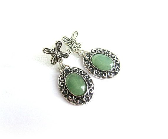 Green aventurine cabochon earrings green stone dangle