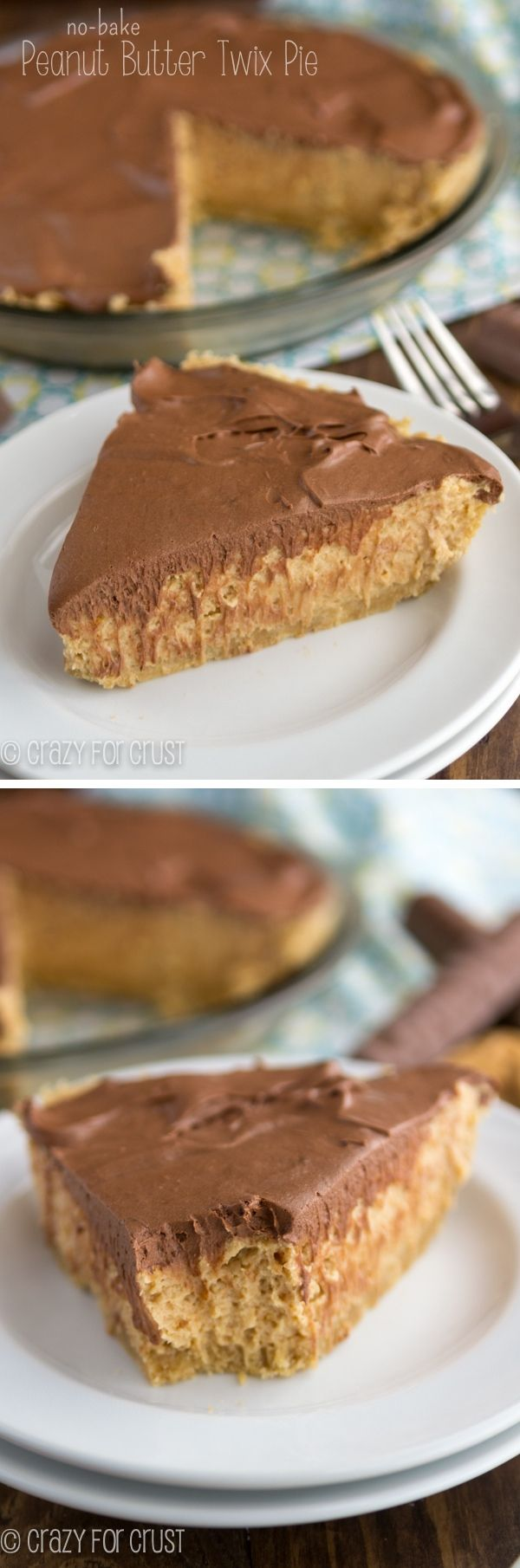 No-Bake Peanut Butter Twix Pie has layers of peanut butter and chocolate with a shortbread cookie crust! #delicious #recipe #cake #desserts #dessertrecipes #yummy #delicious #food #sweet