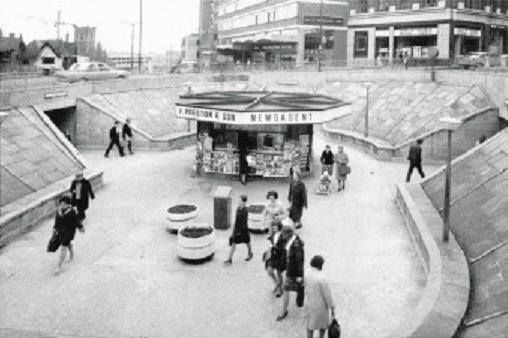 Maid Marian way subway kiosk, Nottingham c 1970s This area has since been filled in with concrete and tarmaced over and a pedestrian crossing is now in its place. Photo from Ed Dexter