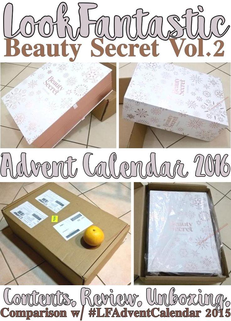 LookFantastic Beauty Secret Vol. 2 Advent Calendar for Holiday 2016 contents, review, unboxing; comparison with 2015's #LFAdventCalendar.