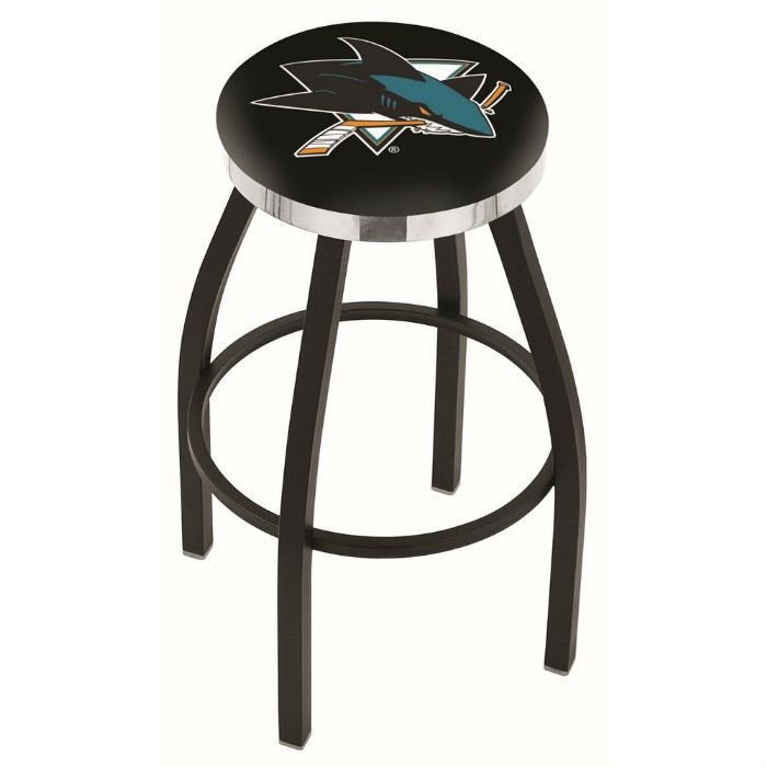 San Jose Sharks NHL Flat Chrome Ring Black Bar Stool