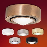 """Die cast aluminum body and tempered frosted glass shield   Glass Accents: White Diamond (NM-251)   Includes 24"""" wire leads and connector   May be mounted recessed or surface (mounting bracket supplied)   Conical Gem Appearance.   Light Tint on Glass   UL and cUL Listed  Regular price: $26.75  Sale price: $18.75"""