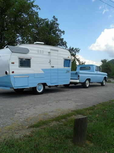 1960 Shasta Trailer with Chevy Apache Truck / canned ham wings vintage travel camper ..... oh how cute when the truck matches the trailer!  Love it!