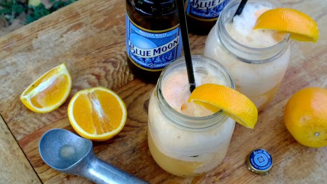 Blue Moon Beer Floats - orange sherbert and a cold Blue Moon. Yummy!