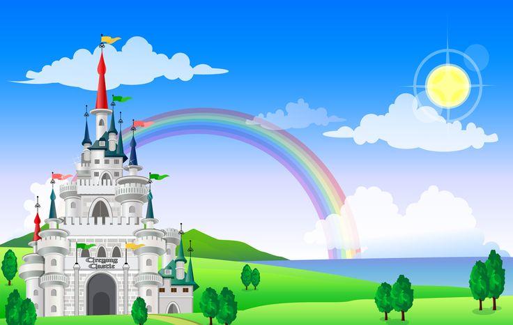 [フリーイラスト素材] イラスト, 風景, 城, 建築物 / 建造物, 虹, EPS ID:201405190700