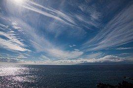 Mar, Sun, Nubes, Azul, Blanco, Reflejo