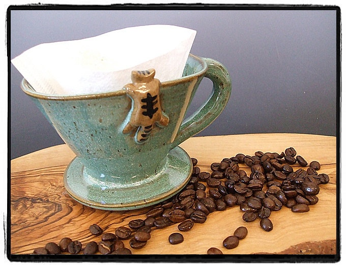 Beautiful Turquoise Coffee Dripper/Single Coffee Maker/Single Coffee Brewer with Tabby Cat by misunrie. $25.00, via Etsy.