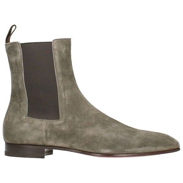Beatles Grey Suede Boots ($725) ❤ liked on Polyvore featuring men's fashion, men's shoes, men's boots, grey, mens gray boots, mens gray shoes, christian louboutin mens shoes, mens suede boots and mens suede shoes