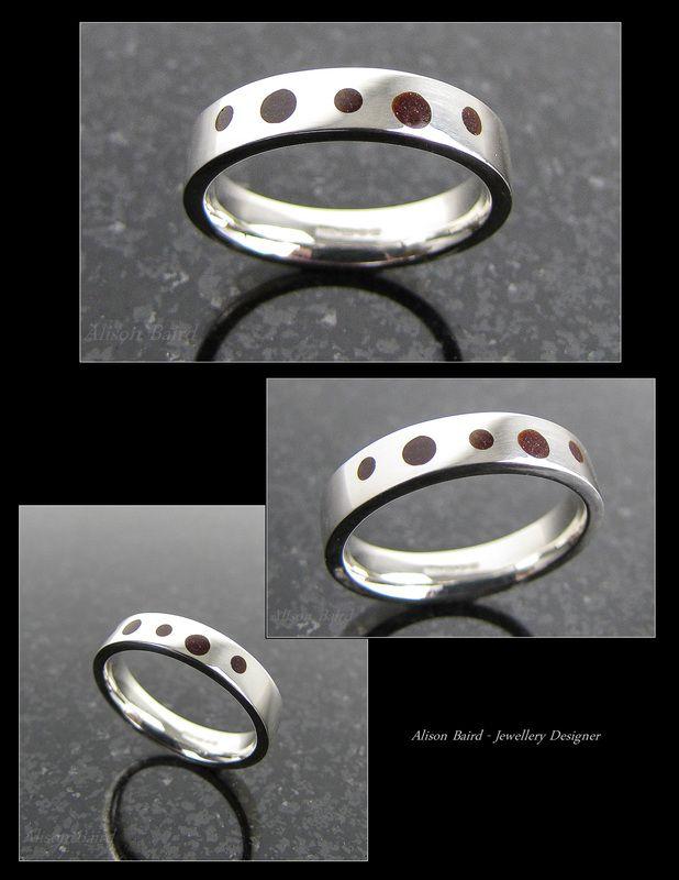 Garnet enamel sterling silver ring