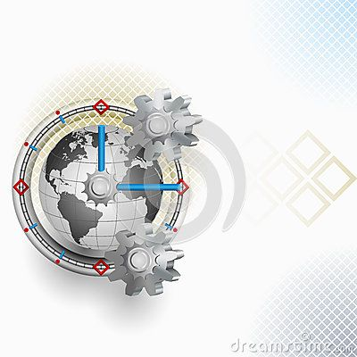 Abstract arrangement with gear and clock