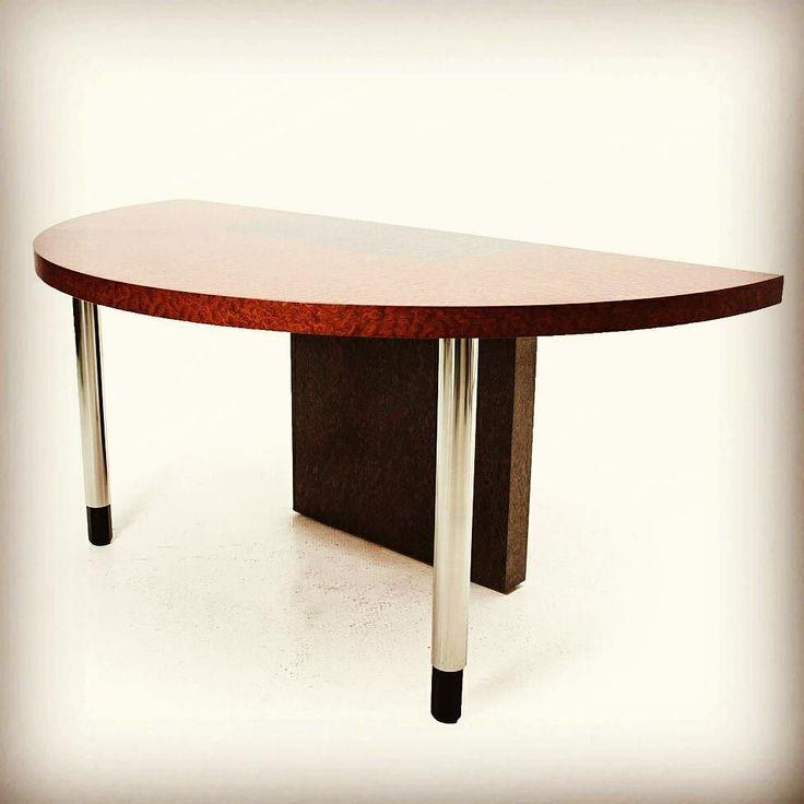 Consolle a mezzaluna designer Ettore Sottsass produttore Zanotta Made in Italy anni 80 colori marrone grigio in legno laccato ed acciaio http://ift.tt/1MfU1wF  #modernism #vintage #design #spazio900design #cool #table #consolle #wood #steel #style #interiordesign #sottsass #zanotta #mezzaluna