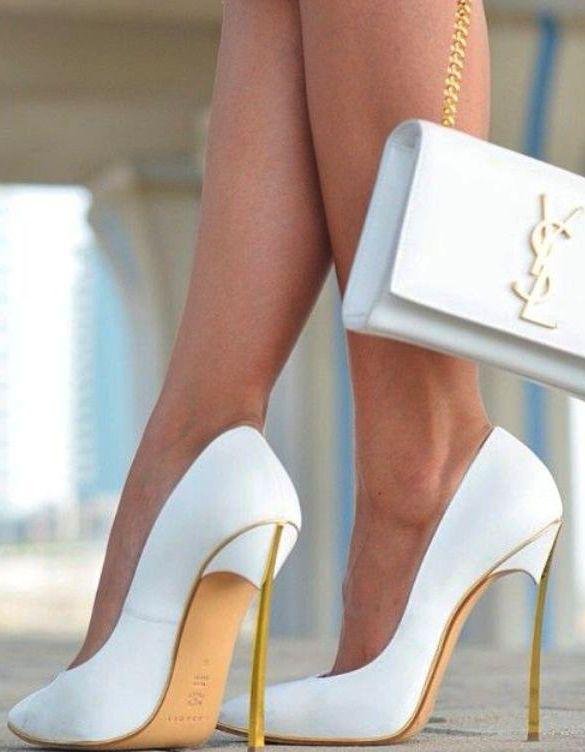 White stiletto pumps