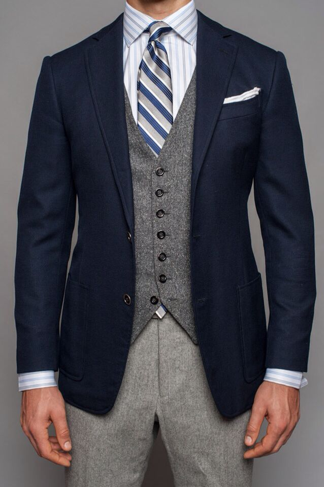 Navy Blazer Grey Tweed Vest Light Grey Wool Pants Blue