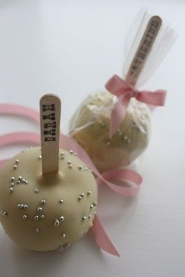 Wrapped Candy Apple Favors... Pretty! White chocolate and gold dots