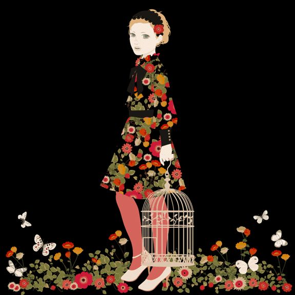 Mari Katogi - girl with birdcage