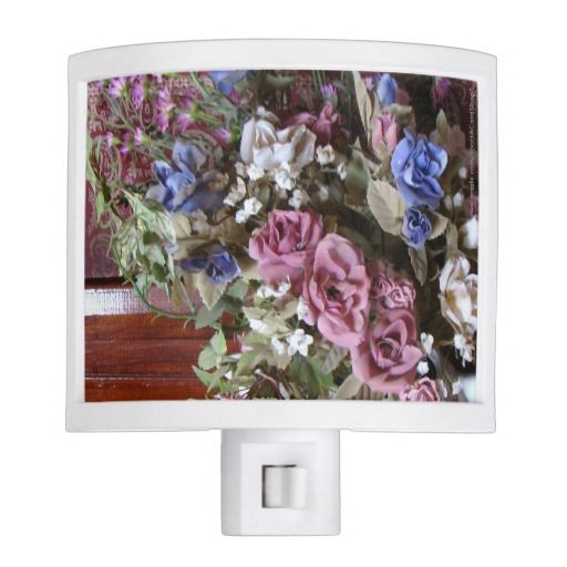25% OFF ends 2/9/15, CODE: ABRIGHTNIGHT . . . Vintage Floral, Flowers, Night Light - This closeup photograph of the flowers that fill a vintage teapot is a simple yet elegant Night Light. Pale purple, pink, blue, and beige will complement many color schemes. Original photograph by Marcia Socolik. All Rights Reserved © 2013 Alan & Marcia Socolik
