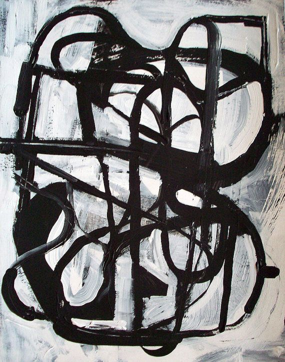 abstract painting black and white minimalist geometric