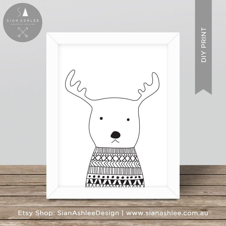 Scandinavian Print   Deer   Hand Drawn   Nursery Kids Room   Wall Art   Monochrome   Scandi   Black and White   DIY Print Sian Ashlee Design by SianAshleeDesign on Etsy https://www.etsy.com/au/listing/400294973/scandinavian-print-deer-hand-drawn