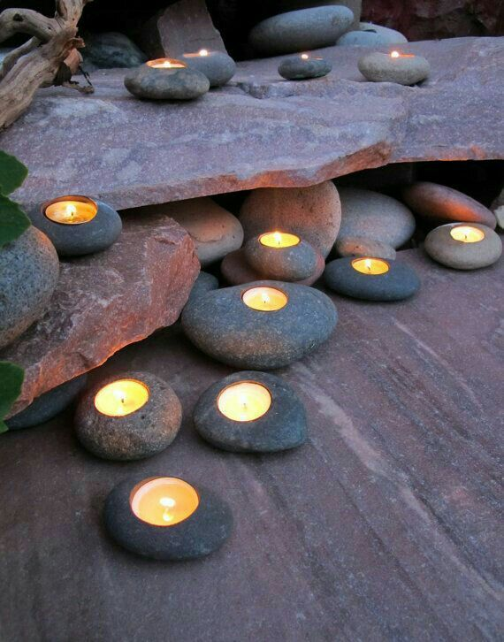 Incorporating river rock and stone into your patio. Love!