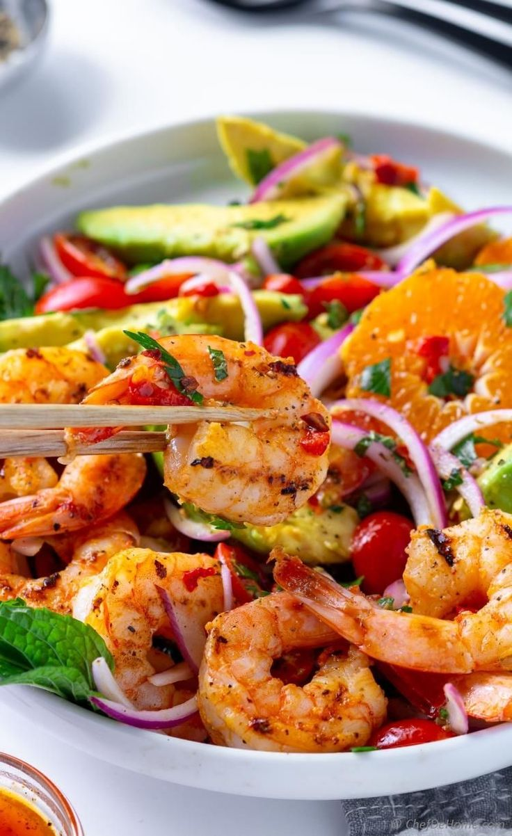 Grilled Shrimp Avocado Salad Sweet and spicy Grilled Shrimp with creamy avocado,…