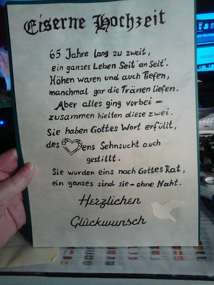 65 Jahre Jubiläum ( Eiserne Hochzeit )