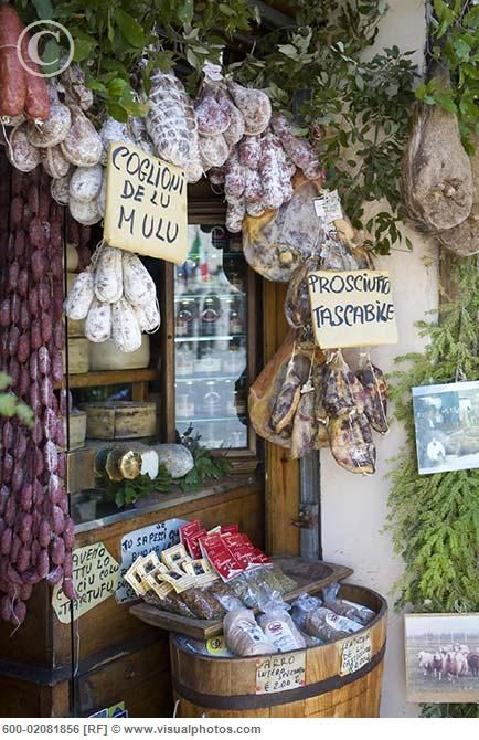Food in Shop, Norcia, Umbria , Italy