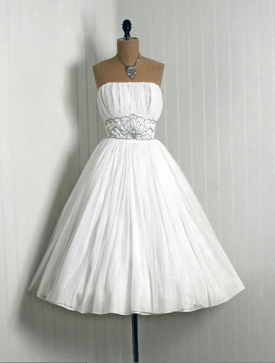 1950's Vintage wedding dress party - White Beaded Rhinestone Chiffon-Couture Strapless Shelf-Bust Full Circle-Skirt Bombshell Back-Train  on Etsy, $494.12