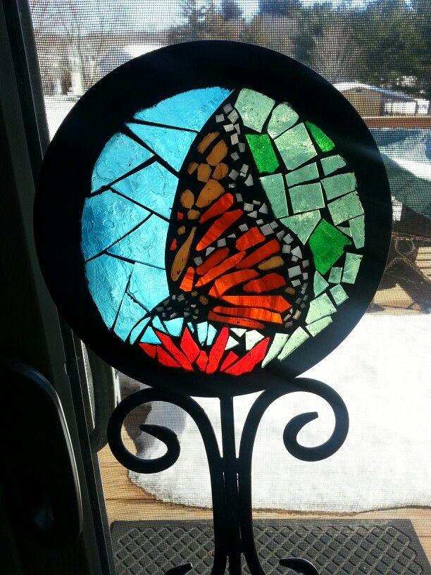 Monarch Butterfly Mosaic Garden Stake
