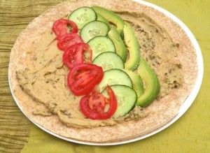 HUMMUS, CUCUMBER, TOMATO AND AVOCADO WRAP This easy hummus wrap recipe is
