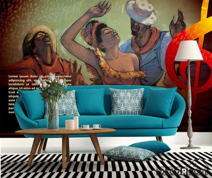 3D Drawing Cuban People Dancing Living Room Art Wall Murals Wallpaper Decals Prints Decor