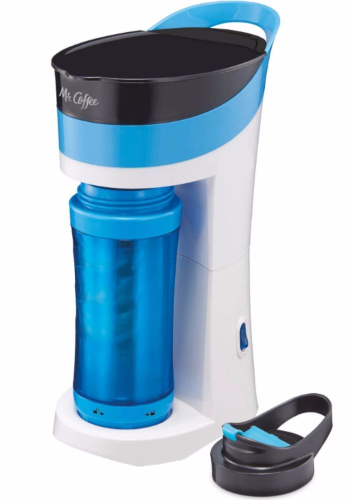 Single Cup Coffee Maker With Thermal Carafe Best Personal Brew Mr Coffee Blue #MrCoffee