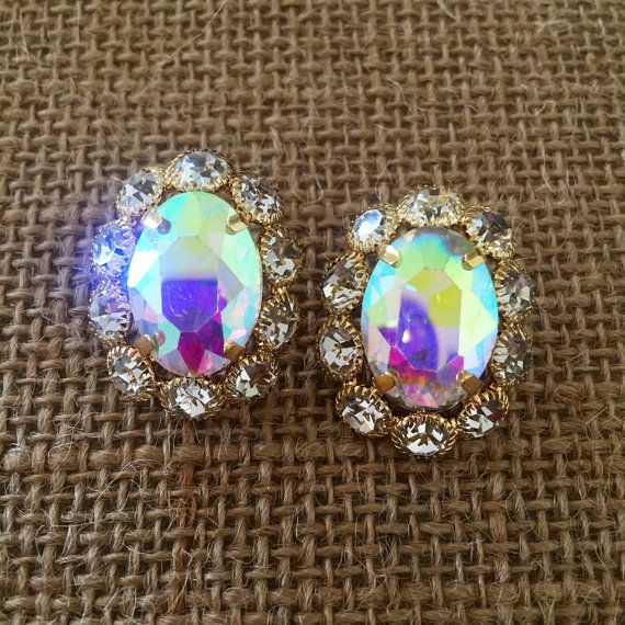 Our Joan Earrings Flower Crystal Oval Studs in by icravejewels