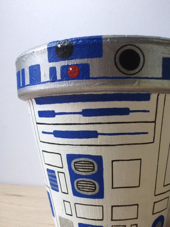 R2D2 Star Wars Hand Painted Flower Pot Droid Planter by GingerPots, $60.00